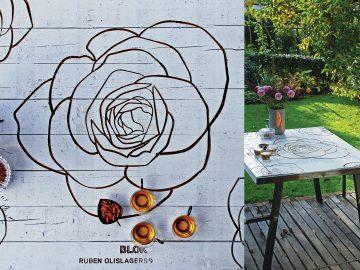 witte tafel met roos